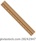 Wooden ruler isolated on white background. 28242947