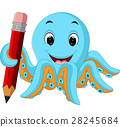 Cartoon octopus holding pencil 28245684