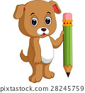 Cute dog holding pencil 28245759