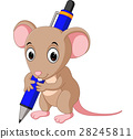 Cute mouse cartoon holding pen 28245811