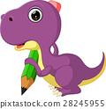 Cute dinosaur holding pencil 28245955
