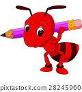 Cartoon red ant holding pencil 28245960