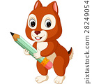 Cute squirrel holding pencil 28249054