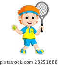 Illustration of a Boy Playing Lawn Tennis 28251688