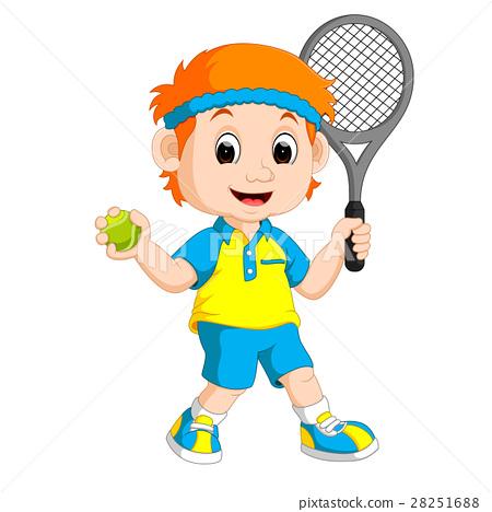 Illustration of a Boy Playing Lawn Tennis 28251688