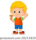 Cute boy licking ice cream 28253839