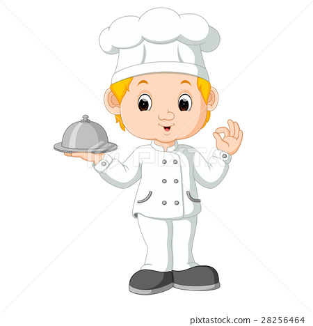 Cartoon funny chef holding a silver platter 28256464