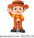 Cartoon farmer holding a rake 28259318