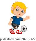 Cartoon boy playing football 28259322