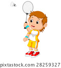 Cartoon boy playing badminton 28259327
