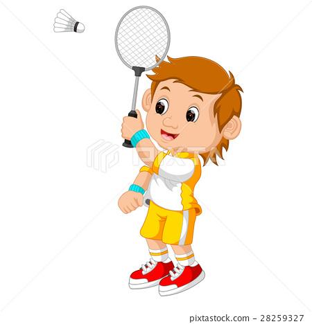 Cartoon boy playing badminton 28259327