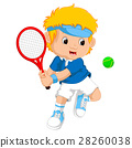 Young boy playing tennis with a racket 28260038