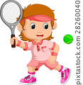 Young girl playing tennis with a racket 28260040