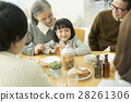 식탁을 둘러싼 가족 5 명 28261306