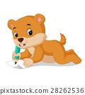 cartoon chipmunk holding pencil 28262536