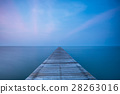 Wooden bridge on sea at sunset 28263016