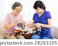 Senior mother and  daughter  learning knitting 28263105