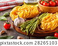 Products for cooking - fresh asparagus, pasta 28265103