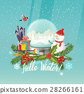 Snowman and snow globe, gifts on sleigh, ski poles 28266161