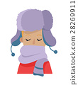 Hat. Young Man Hiding his Face in Violet Scarf 28269911