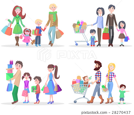 Happy Family Buying Goods and Gifts in Stores 28270437