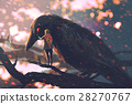 man whispering the big crow on a tree branch 28270767