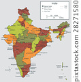India map with selectable territories. Vector 28271580