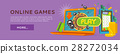 Online Games Web Banner Isolated with Play Button. 28272034