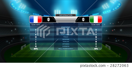 soccer football stadium spotlight and scoreboard 28272063