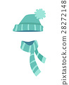 Knitted Modern Hat and Scarf with Stripes. Vector 28272148