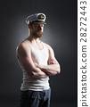 Portrait of a handsome sailor on a dark background 28272443