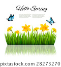 Spring nature background with green grass, flowers 28273270