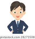 고등학생 남자 남자 교복 상반신 일러스트 28273508