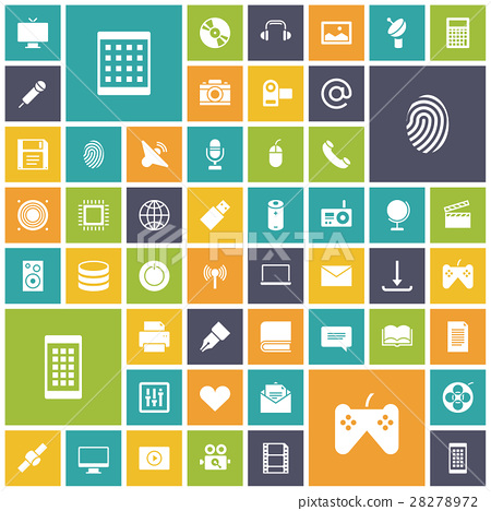 Flat design icons for technology and media 28278972