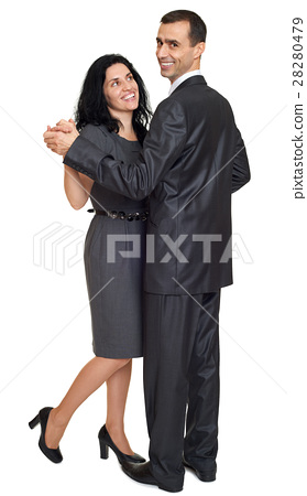 romantic couple dressed in black suit on white 28280479