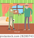 First Aid for Old Man. Health Care Concept. Vector 28280743