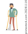 Homebody on Crutches with Broken Leg Isolated 28281116