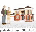 Senior cartoon couple and luxurious house 28281146
