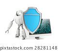 Robot holding shield protecting computer 28281148