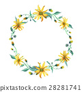 Watercolor wreath. Yellow daisies with leaves 28281741