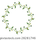 Watercolor wreath. Yellow flower with green leaves 28281746