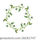 Watercolor wreath. Yellow flower with green leaves 28281747