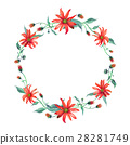 Watercolor wreath. Red daisies with leaves 28281749