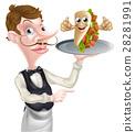 侍者 烤肉串 指示 28281991