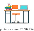 Workplace with Computer and Docs Flat Style Vector 28284554