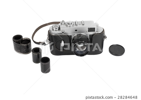 Old manual camera on white background 28284648