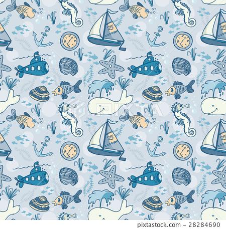 Cartoon hand-drawn seamless underwater pattern. 28284690