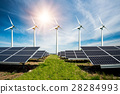 Photo collage of solar panels and wind turbins 28284993