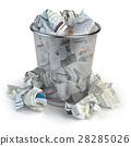 Trash bin full of waste paper. Wastepaper basket 28285026