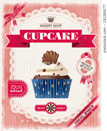 Poster of confectionery bakery with cupcakes 28286677